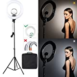 CRAPHY 18'' inch LED Ring Light with Stand and Mirror (Dimmable SMD Bi-color 3200k-5500k, included Hot Shoe, Phone Holder for Camera Smartphone Youtube Video Shooting (Upgraded Generation)