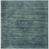 Safavieh Vintage Collection VTG112-2220 Turquoise and Multicolored Viscose Square Area Rug, 6-Feet