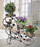 HLC 階段状 フラワースタンド(花台) ユーロクラシックデザイン (ダークブラウン)