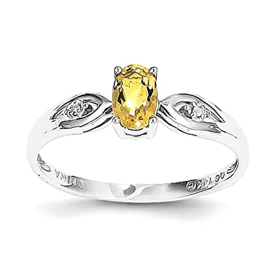 14k White Gold Citrine Diamond Ring