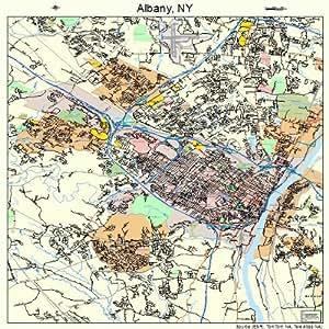 """Amazon.com: 18"""" Street & Road Map of Albany, New York NY - Printed"""