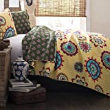 King Size Bedding Collection Quilt Set in Yellow / Green Floral Design - 3 Piece