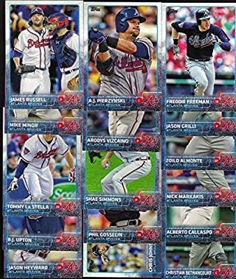 Atlanta Braves 2015 Topps MLB Baseball Regular Issue Complete Mint 23 Card Team Set with Nick Markakis, Freddie Freeman Plus