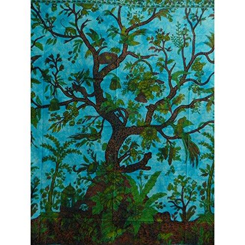 Colcha Árbol del la vida turquesa 240x200cm pájaro flores Tie Dye Estilo