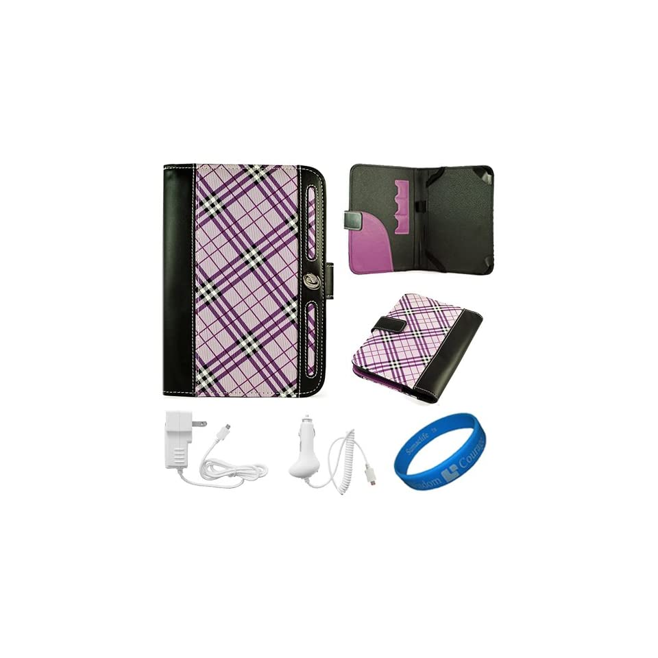 Purple Plaid Executive Leather Folio Case Cover for  Kindle Fire 7 inch Multi Touch Screen Tablet   8GB Android Wireless (Wifi) Tablet + White Micro USB Car Charger + White Micro USB Wall / Home Charger + SumacLife TM Wisdom Courage Wristband