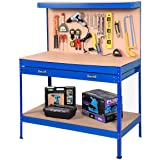Goplus Steel Workbench Tool Storage Work Bench Workshop Tools Table W/Drawer and Peg Board (Blue) (Color: Blue)