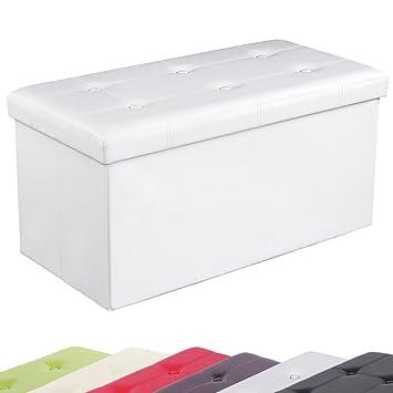 songmics 76x38x38 cm faltbarer sitzhocker sitzw rfel aufbewahrungsbox hocker wei kunstleder. Black Bedroom Furniture Sets. Home Design Ideas