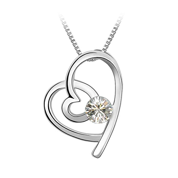 Le Premium® Linked Hearts Pendant Necklace With Round Shaped Swarovski Clear White Crystal -- $14.75