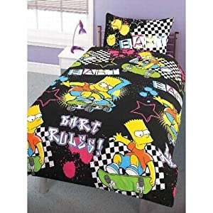 ensemble de literie de fantaisie bart simpson pour enfant housse de couette au style bart rules. Black Bedroom Furniture Sets. Home Design Ideas