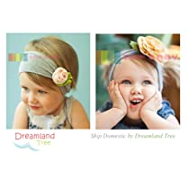 Flower Headband 2-pieces Set for Baby / Toddler (Pink Rose / Yellow Polka Dots)