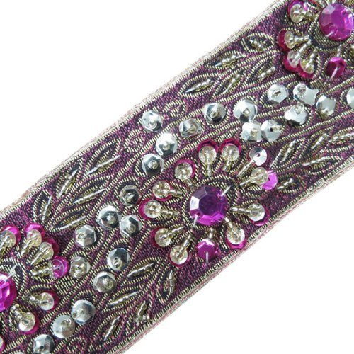 Pink Base Gold Embellished Beaded Ribbon Trim Sewing 1 Yd