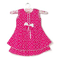 F-Loop Stiched Baby Girls Cotton frocks (F-14-22_Pink)