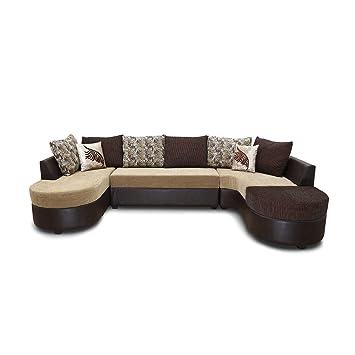 Hometown Three Seater Sectional Sofa Matt Finish Brown and