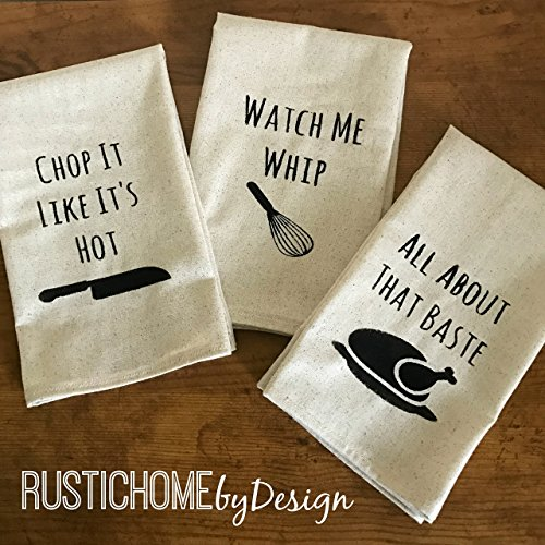 Set of 3 Funny Kitchen Towels   Chop It Like It's Hot   Watch Me Whip   All About That Baste   Modern Kitchen Decor   Tea Towels   Dish Towels (Modern Kitchen Decor compare prices)