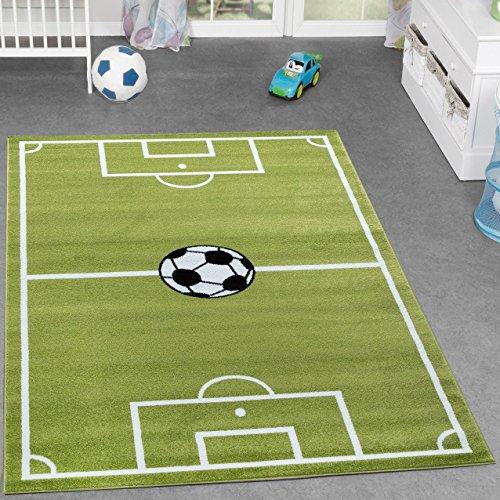 tappeto per ragazzi campo da calcio sportivo da gioco con pallone verde bianco 5 misure diverse. Black Bedroom Furniture Sets. Home Design Ideas
