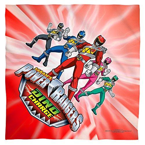 POWER RANGERS/DINO RANGER - POLY 22X22 BANDANA - White - ONE SIZE by Trevco (Power Rangers Flag compare prices)