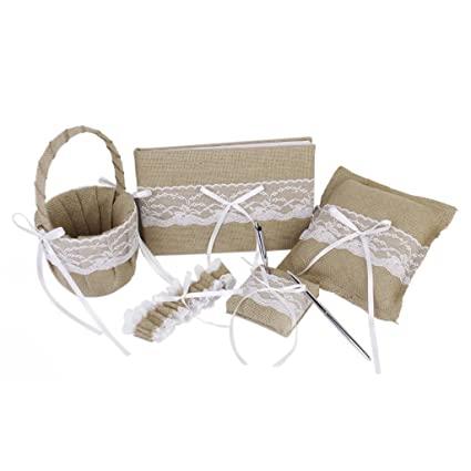 Click Down 5pcs Rustic Burlap Lace Ring Pillow Wedding Guest Book Pen Garter Favors Wedding Set