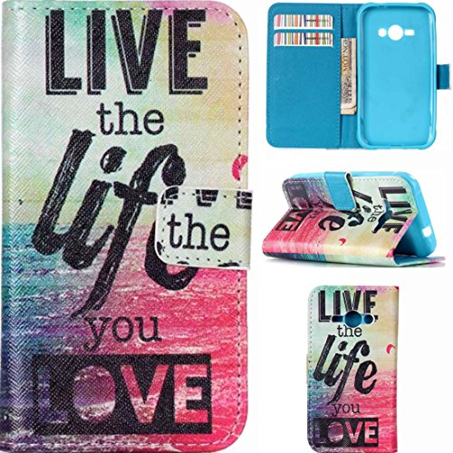 J1 Ace Case, Samsung Galaxy J1 Ace Case,Enjoy Sunlight [Live the life you love] Kickstand Feature] Luxury Wallet PU Leather Folio Wallet Flip Case Cover Built-in Card Slots for Samsung Galaxy J1 Ace (Samsung Ace Phone Wallet Cases compare prices)