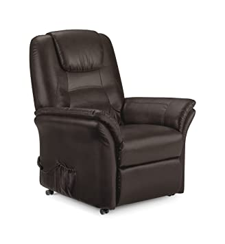 Riva Comfortable Rise & Recline Chair Brown Faux Leather