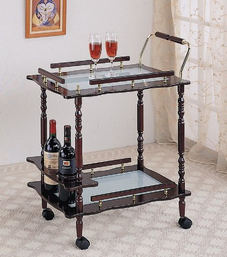 Cherry Finish Wood Tea Serving Kitchen Cart With Frosted Glass Inserts