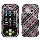 Aimo LGGT365HPCDM072NP Dazzling Diamante Bling Case for LG Neon GT365 - Retail Packaging - Plaid Cross Hot Pink