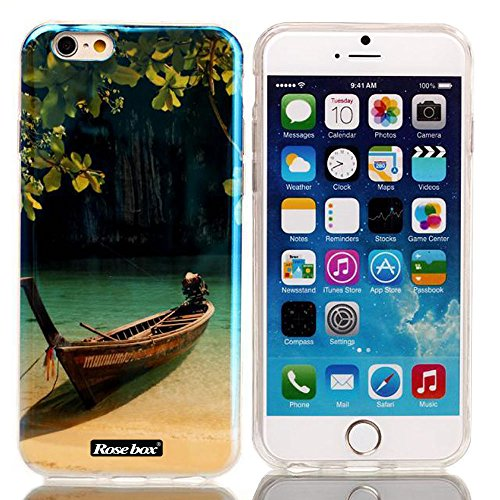 RoseBox® IPhone 6 Plus Case Apple iPhone 6 Plus Case 5.5 Inch Transparent Case Elegant Design Soft Smooth Transparent TPU Material with Classic Unique Glitter Shimmering Blu-ray Bling Powder Pattern High Impact Case Cover Skin Protection for Apple iPhone 6 Plus Case 5.5 Inch (Landscape Style)