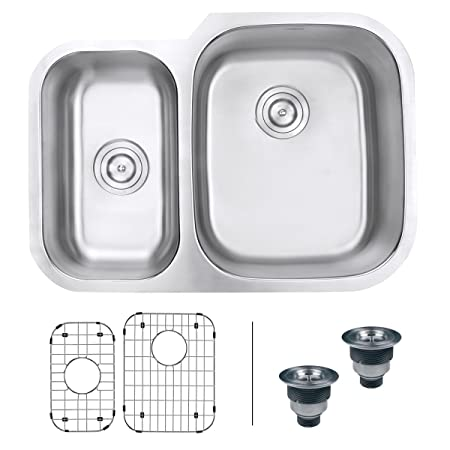 "Ruvati RVM4505 Undermount 16 Gauge 29"" Kitchen Double Bowl Sink, Stainless Steel"