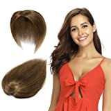 100% Remy Human Hair Silk Base Top Hairpieces Replacement Clip in Topper For Women Crown Top Piece Long 14''/14inch #6 Light Brown 23g (Color: #6 Light Brown, Tamaño: 14'')