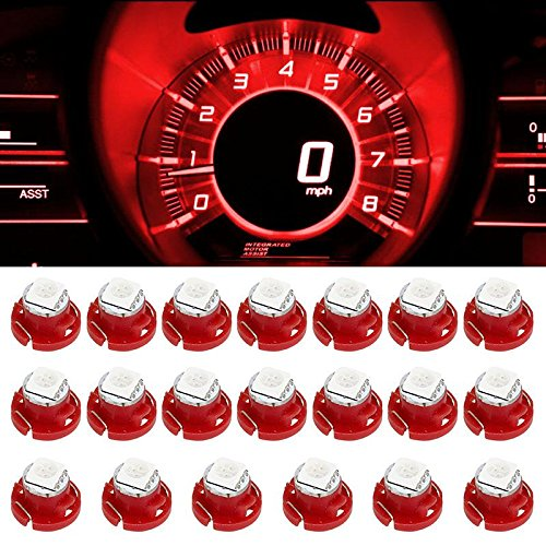 Partsam 20pcs T5/T4.7 Neo Wedge LED Bulb Red HVAC Center Console AC Climate Light Lamp 5050-SMD 12mm 12V for 2001-2011 Dodge RAM 1500 2500 3500 (Gmc Sonoma Center Console compare prices)