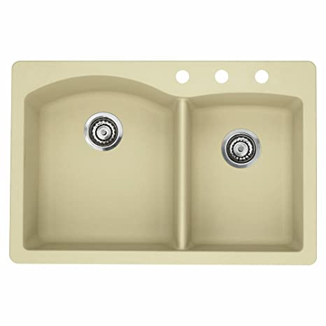 Blanco 441216-3 Diamond 3-Hole Double-Basin Drop-In Granite Kitchen Sink, Biscotti