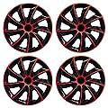 Radkappen-Koenig Quad Bicolor in Schwarz/ Rot Universal-Radkappe (BIC Rot 15 Zoll universal) von Eight Tec Handelsagentur - Reifen Onlineshop