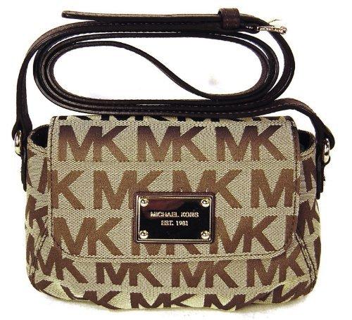 Michael Kors Mk Logo Small Flap Jacquard Crossbody - Beige & Mocha