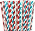Red and Blue Polka Dot and Striped Paper Straws Dr. Seuss Birthday Party Supply- Baby Shower Picnic 100%Biodegradable 7.75 Inches Pack of 100