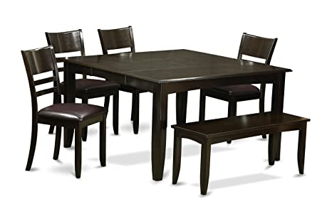 East West Furniture PFLY6-CAP-LC 6-Piece Dining Table Set, Cappuccino Finish