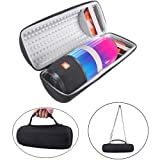 Hard Travel Bag Carrying Cover Case for JBL Pulse 3 Pulse3 Wireless Portable Bluetooth Speaker Protective Cover with Shoulder Strap (Black+Gray) (Color: Black+Gray)