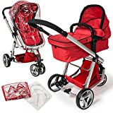 TecTake 3 in 1 Pushchair stroller combi stroller buggy baby jogger travel buggy kids stroller red with mosquito net rain cover