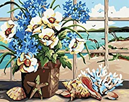 [ New Release ] Diy Oil Painting by Numbers, Paint by Number Kits - Flowers and Shells 16*20 inches - Digital Oil Painting Canvas Wall Art Artwork Landscape Paintings for Home Living Room Office Christmas Decor Decorations Gifts - Diy Paint by Numbers Diy