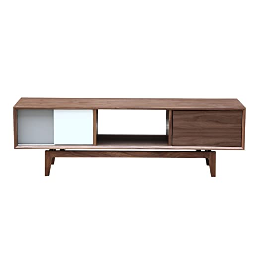 Kardiel Platform Modern Credenza /Media TV Cabinet, Walnut Wood