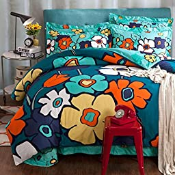 HIGOGOGO Home Textiles Sanded Cotton Thick Duvet Cover Set Pastoral Style Bedding Set Floral Prints 4Pcs,Twill Sheet Set Full Queen Size (Queen)
