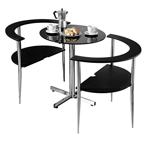 Protege Homeware Black Tempered Glass Table Top Chrome Finish Frame Love Dining Set