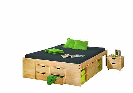 Links 30400635 Bett 140x190 cm Doppelbett Stauraumbett Funktionsbett natur Rost Kiefer massiv
