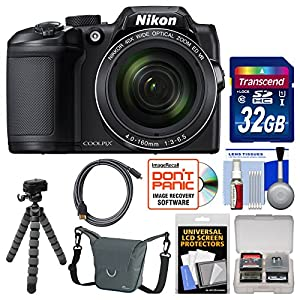 Nikon Coolpix B500 Wi-Fi Digital Camera (Black) with 32GB Card + Case + Flex Tripod + Kit