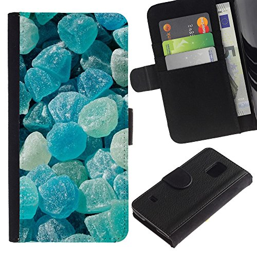 iBinBang / Flip Wallet Design Leather Case Cover - Crystal Meth Rocks Candy Blue Beach - Samsung Galaxy S5 V SM-G900