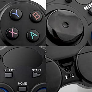 XFUNY Gamepad Wireless 2.4G Game Controller Plug and Play Multi-Function Gamepad with OTG for Android Phone/Tablet/PC/PS3/Smart TV/TV Box (Black) (Color: Black)