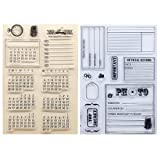 Kwan Crafts 2 Sheets Different Style Calendar Travel Record Official Record Clear Stamps for Card Making Decoration and DIY Scrapbooking