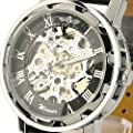 ESS Men's Black Dial Leather Band Luxury Stainless Case Hand-Wind Up Mechanical Wrist Watch WM090