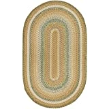 Safavieh Braided Collection BRD314A Hand-woven Tan and Multi Oval Area Rug, 3 feet by 5 feet (3' x 5'Oval)