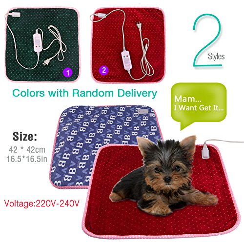 "16.5""X16.5"" Cute Pet Dog Cat Heating Blanket Pad Electric Warmer Bed Mat(Item Will Be Sent With Random Color)"