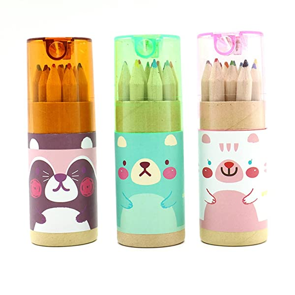 Pomeat 3 Pack Cute Cartoon Bear Mini Drawing Colored Pencils with Sharpener, 3.5 Length, Portable, 12 Count in Tube