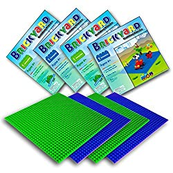 4 Baseplates, 10 x 10 Inches Large Base Plates for Building Bricks by Brickyard Building Blocks, Perfect for Activity Table or Displaying Compatible Construction Toys (2 Green, 2 Blue)